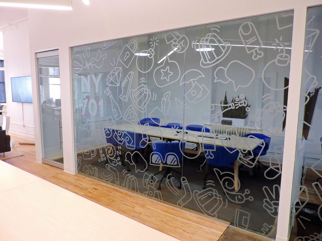 custom office window graphics in NYC
